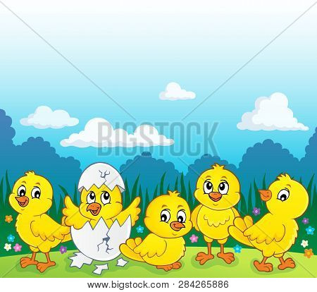 Cute Chickens Topic Image 3 - Eps10 Vector Picture Illustration.
