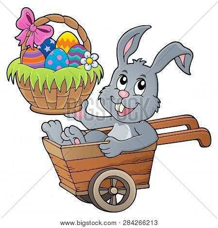 Easter Bunny In Wheelbarrow Image 2 - Eps10 Vector Picture Illustration.