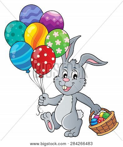 Easter Bunny With Balloons Image 1 - Eps10 Vector Picture Illustration.