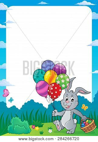 Easter Bunny With Balloons Theme Frame 1 - Eps10 Vector Picture Illustration.