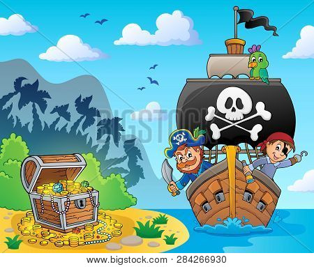 Image With Pirate Vessel Theme 6 - Eps10 Vector Picture Illustration.