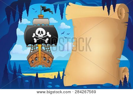 Parchment In Pirate Cave Image 7 - Eps10 Vector Picture Illustration.