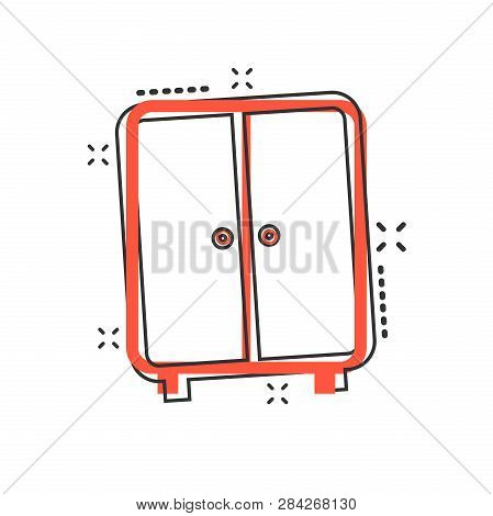 Vector cartoon cupboard furniture icon in comic style. Furniture sign illustration pictogram. Cupboard business splash effect concept. poster