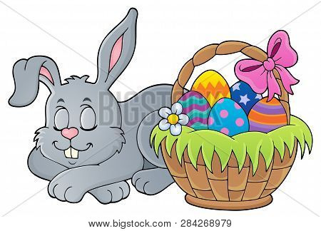Sleeping Easter Bunny Theme Image 1 - Eps10 Vector Picture Illustration.