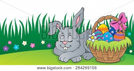 Sleeping Easter Bunny Theme Image 2 - Eps10 Vector Picture Illustration.
