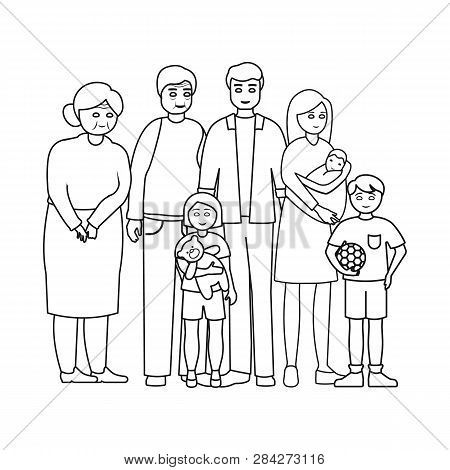 Vector Design Of Relatives And Dad Symbol. Collection Of Relatives And Grandpa Stock Vector Illustra