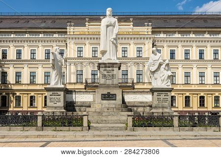 Kyiv, Ukraine - August 18, 2013: Monument To Princess Olga, Apostle Andrew, Cyril And Methodius In K