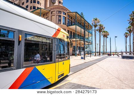 31st December 2018 , Glenelg Adelaide South Australia : Adelaide Tram At The Terminus At Moseley Squ