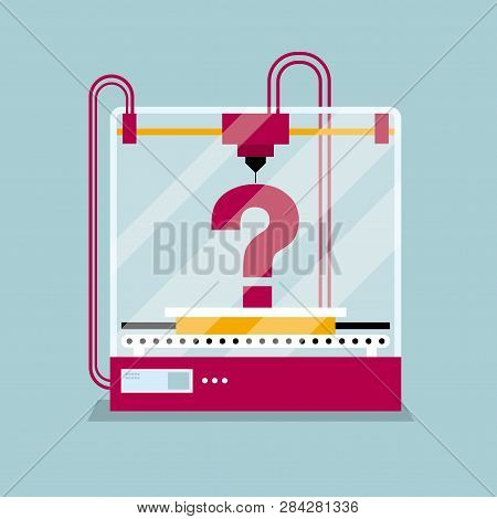 3d Printing A Question Mark Symbol, The Concept Of Rapid Prototyping.