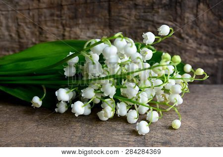 Bouquet Of Lilies Of The Valley On Old Wooden Background.lily Of The Valley Spring Flowers.concept F
