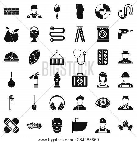 Good Occupation Icons Set. Simple Style Of 36 Good Occupation Icons For Web Isolated On White Backgr