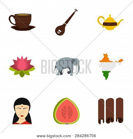 Tourism In India Icon Set. Flat Style Set Of 9 Tourism In India Icons For Web Isolated On White Back