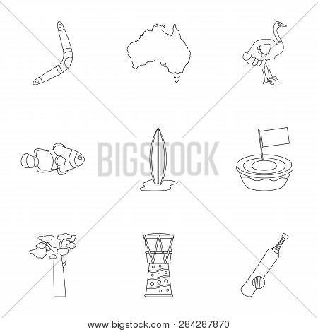 Tourism In Australia Icon Set. Outline Style Set Of 9 Tourism In Australia Icons For Web Isolated On