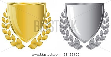 golden and silver shields with laurel wreath
