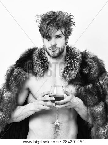Sexy Sleepy Rich Macho Tousled Hair Drink Wine Isolated On White. Health And Wellbeing. Richness And