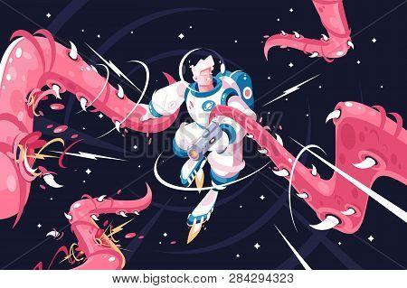 Young Astronaut Vs Dangerous Alien Tentacles. Astronaut