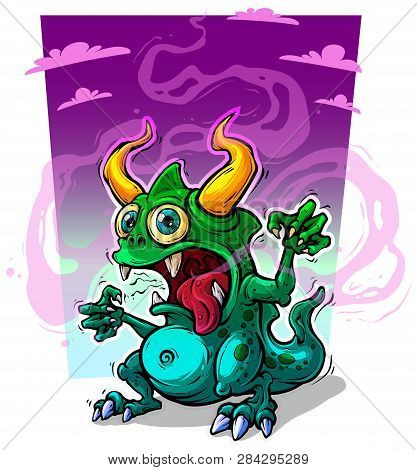 Cartoon Funny Crazy Green Stinky Monster With Horns And Canines. On Violet Background. Halloween Vec
