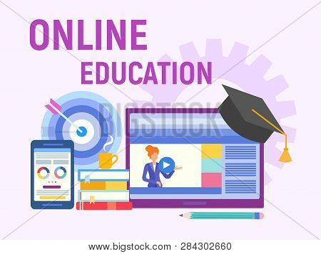 Web Education, Online Training, Professor Teaches On The Internet. Studying Foreign Languages. Vecto