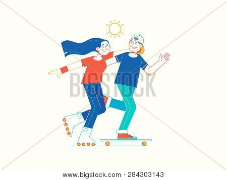 Young Couple Rollerskating In Park. Line Vector Illustration