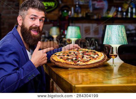 Hipster Hungry Eat Italian Pizza. Pizza Favorite Restaurant Food. Fresh Hot Pizza For Dinner. Hipste