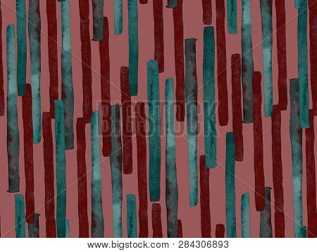poster of Bauhaus Seamless Pattern. Watercolor Geometric  Red Magenta Lines Design. Art Organic Geo Background. Large Contemporary Minimal Print. Trendy Fun Abstract Paint Watercolour Colour Stripes.