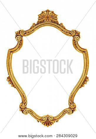 Vintage gilded frame isolated on white background, including clipping path