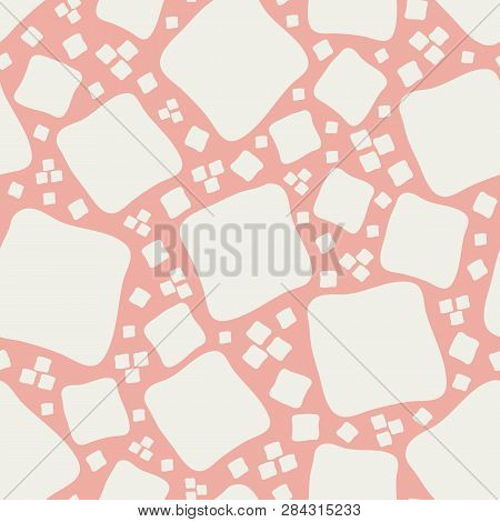 Vibrant Mosaic Style Design With Hand Drawn White Squares On Coral Background. Seamless Vector Patte
