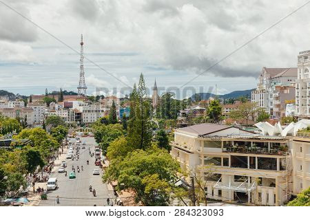 Dalat, Vietnam - September 23, 2018: A View Of Dalat City From The Central Market On September 23, 2