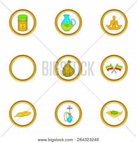 Hashish Icon Set. Cartoon Style Set Of 9 Hashish Icons For Web Isolated On White Background