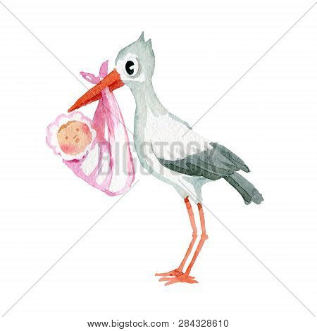 Watercolor Illustration. The Picture Shows A Crane That Holds A Baby Wrapped In A Blanket In Its Bea