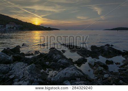 Romantic Sunset On The Adriatic Bay In Croatia Near Rogoznica