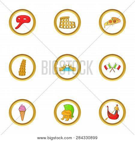 Tourism In Italy Icon Set. Cartoon Style Set Of 9 Tourism In Italy Icons For Web Isolated On White B