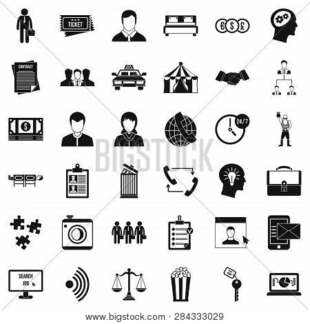 Conformity In Work Icons Set. Simple Style Of 36 Conformity In Work Icons For Web Isolated On White