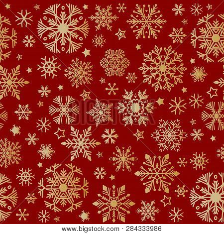 Snow Pattern On Red Background. Vector Illustration.