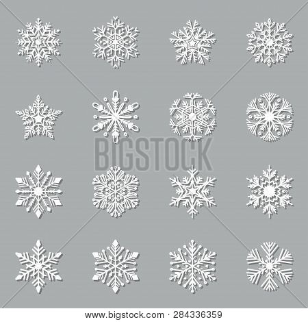 Christmas Paper Cut Snowflake Set. Vector Icons