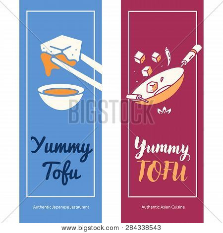 Set Of Restaurant And Food Logo Vector Template Design With Tofu Dishes: Stir Fry And Tofu With Soy