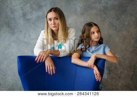 Teenage Girl With Her Mother. Gentle Relationship With The Child And The Concept Of Family Relations