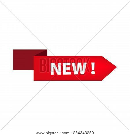 Red Ribbon With New Tag On White Background. Novelty, Store, Shopping. Sale Banner Concept. Vector I