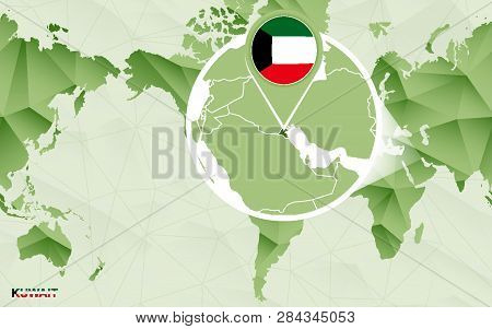 America Centric World Map With Magnified Kuwait Map. Green Polygonal World Map.