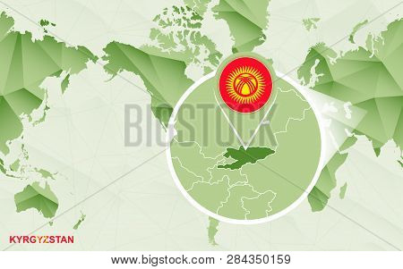 America Centric World Map With Magnified Kyrgyzstan Map. Green Polygonal World Map.