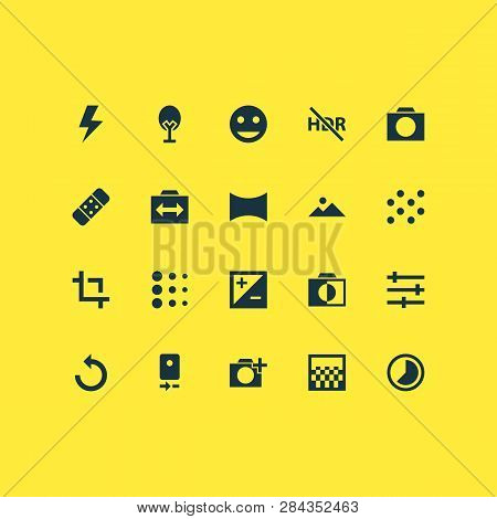Image Icons Set With Timelapse, Tune, Photographing And Other Mountain Elements. Isolated Vector Ill
