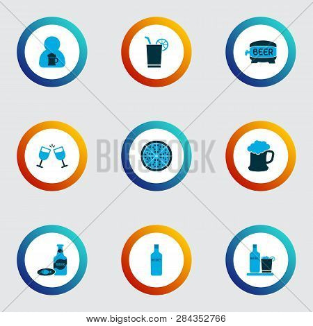 Drink Icons Colored Set With Barrel Of Beer, Beer With Fish, Liqueur And Other Cheers Elements. Isol