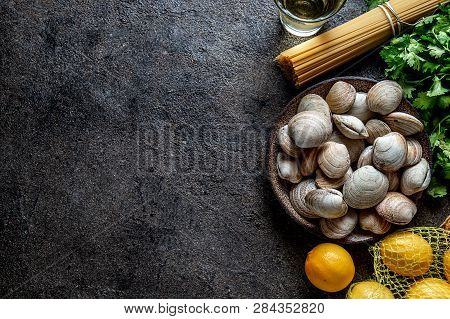 Ingredients For Preparation Spaghetti With Clams - Raw Fresh Clams, Spaghetti Coriander, White Wine