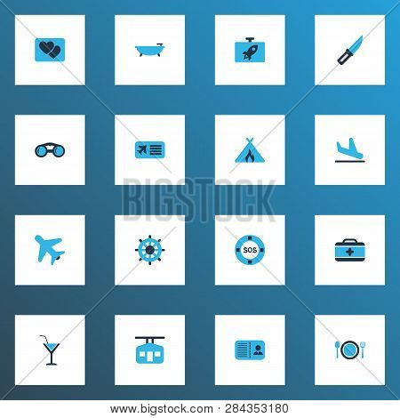 Journey Icons Colored Set With Flask, Airplane In The Sky, Airplane Ticket And Other Tub Elements. I
