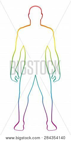 Male Muscular Body Shape. Rainbow Gradient Colored Human Silhouette. Outline Vector Illustration On