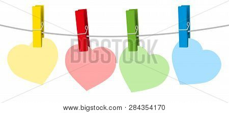 Four Colored Paper Hearts And Clothes Pins On A Clothes Line Rope. Isolated Vector Illustration On W
