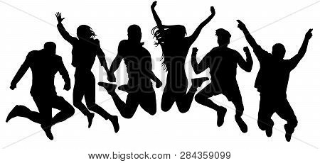 Jumping Friends Youth Background. People Jump Vector Silhouette. Cheerful Man And Woman Isolated. Cr