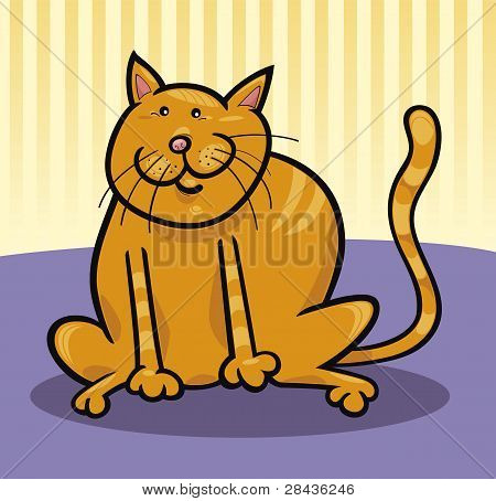 poster of cartoon illustration of funny yellow cat sitting on the floor