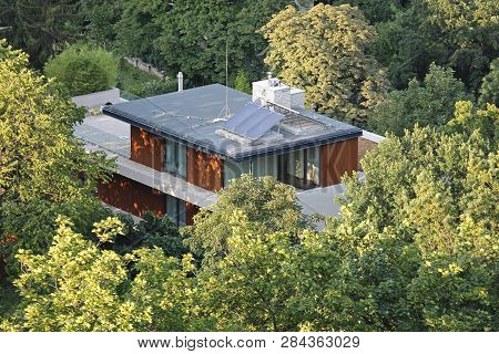 Solar Cell Eco House Hidden In Woods