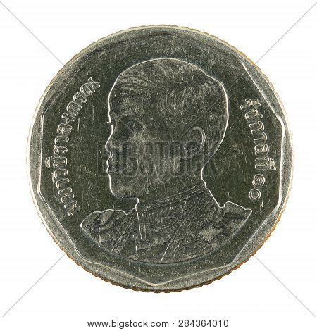5 New Thai Baht Coin (2018) Obverse Isolated On White Background